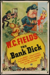 1z023 BANK DICK linen style D 1sh 1940 great cartoon art of W.C. Fields as Egbert Souse, ultra rare!