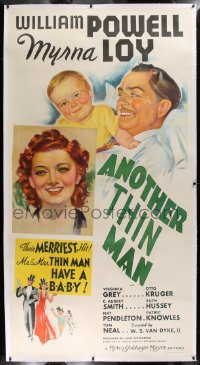 2a026 ANOTHER THIN MAN linen style B 3sh 1939 art of William Powell & Myrna Loy with Nick Jr., rare!