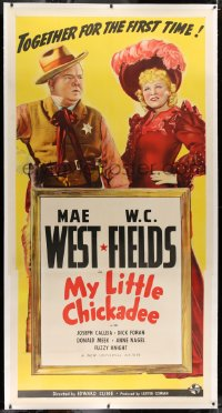 2a038 MY LITTLE CHICKADEE linen 3sh 1940 W.C. Fields & Mae West together for the first time, rare!