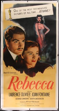 2a041 REBECCA linen 3sh R1946 Laurence Olivier, Joan Fontaine, Alfred Hitchcock, ultra rare!