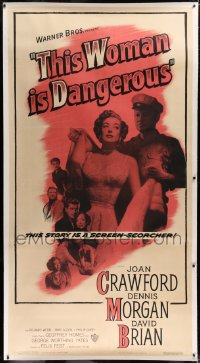 2a045 THIS WOMAN IS DANGEROUS linen 3sh 1952 Joan Crawford was a lady, till you see her record!
