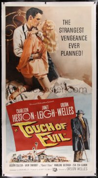2a046 TOUCH OF EVIL linen 3sh 1958 Tollen art of Orson Welles, Charlton Heston & Janet Leigh, rare!