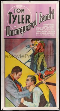 2a047 UNCONQUERED BANDIT linen 3sh 1935 Tom Tyler in death struggle with bad guy, shooting guns!