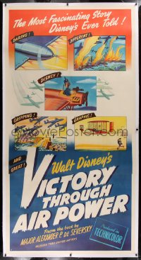 2a048 VICTORY THROUGH AIR POWER linen 3sh 1943 most fascinating WWII story Disney ever told, rare!