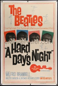 2a025 HARD DAY'S NIGHT linen 40x60 1964 The Beatles in their first movie, rock & roll classic!