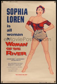 2a015 WOMAN OF THE RIVER 40x60 1956 full-length art of sexy Sophia Loren, who is all woman, rare!