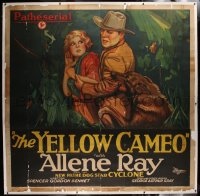 2a024 YELLOW CAMEO linen 6sh 1928 great E.U. Smith pulp art of dog attacking bad guy, very rare!