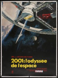 2a077 2001: A SPACE ODYSSEY linen Cinerama French 1p 1968 Kubrick, McCall space wheel art, rare!