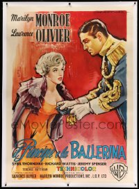 2a066 PRINCE & THE SHOWGIRL linen Italian 1p 1957 different Martinati art of Marilyn & Olivier, rare!