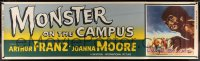 2a007 MONSTER ON THE CAMPUS paper banner 1958 Brown art of test tube terror running amok, rare!