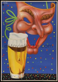 2a020 CARNIVAL SEASON POSTER 33x47 German special poster 1950s Abeking artwork of mask behind beer!