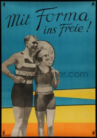 2a018 MIT FORMA INS FREIE 33x47 German advertising poster 1920s photomontage of couple in beachwear!