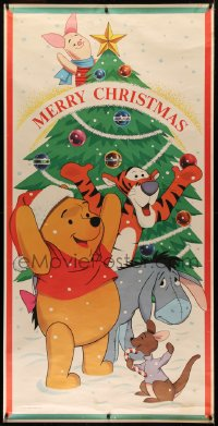 2a012 WINNIE THE POOH 36x72 special poster 1960s Tigger, Eeyore & Piglet by Christmas tree, rare!