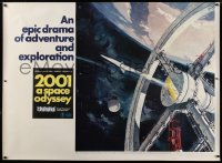 2a009 2001: A SPACE ODYSSEY Cinerama subway poster 1968 Kubrick, art of space wheel by Bob McCall!