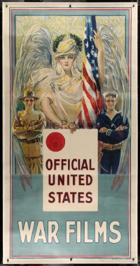 2a040 OFFICIAL UNITED STATES WAR FILMS linen 3sh 1916 art of winged woman, soldier & sailor, rare!