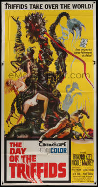 2b004 DAY OF THE TRIFFIDS 3sh 1962 classic English sci-fi horror, cool art of monster with girl!