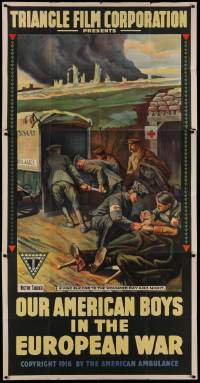 2b006 OUR AMERICAN BOYS IN THE EUROPEAN WAR 3sh 1916 Tardieu art of Red Cross medics helping, rare!