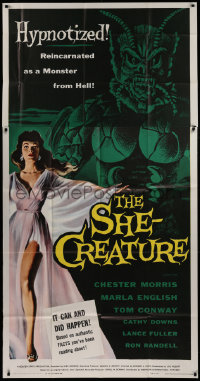 2b007 SHE-CREATURE 3sh 1956 Kallis art of Marla English reincarnated as a monster from Hell, rare!