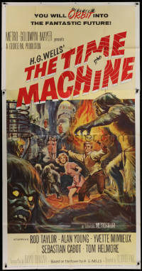 2b011 TIME MACHINE 3sh 1960 H.G. Wells, George Pal, great Reynold Brown art of Taylor & Mimieux!