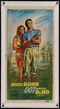 2b164 DR. NO linen French 16x31 1963 great different Boris Grinsson art of Connery & Andress, rare!