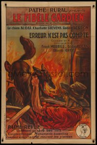 2b024 KING OF THE PACK/UNKNOWN DANGERS French 32x47 1920s great art of dog attacking man by fire!
