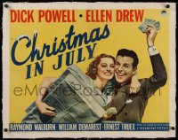 2b258 CHRISTMAS IN JULY linen 1/2sh 1940 Preston Sturges classic, Dick Powell, Ellen Drew, rare!