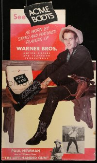 2b038 LEFT HANDED GUN die-cut 13x21 standee 1958 Paul Newman as Billy the Kid selling Acme Boots!