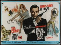 2c354 FROM RUSSIA WITH LOVE British quad 1964 art of Connery as Bond by Fratini & Pulford, rare!