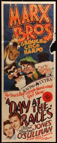 2c069 DAY AT THE RACES insert 1937 Al Hirschfeld art of Marx Brothers Groucho, Chico & Harpo, rare!