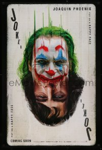 2c340 JOKER DS teaser 1sh 2019 Joaquin Phoenix as the DC Comics villain, wonderful playing card art!