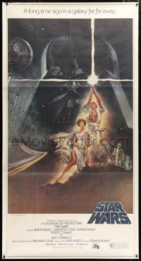 2d002 STAR WARS 3sh 1977 George Lucas classic sci-fi epic, great montage art by Tom Jung!