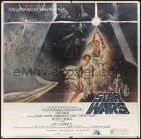 2d001 STAR WARS 6sh 1977 George Lucas, iconic Tom Jung art of Luke & Leia with Vader behind, rare!