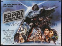 2d253 EMPIRE STRIKES BACK British quad 1980 George Lucas, different Tom Jung art with black title!