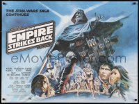 2d254 EMPIRE STRIKES BACK British quad 1980 George Lucas, different Tom Jung art with white title!