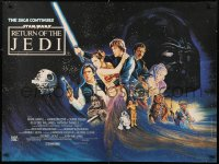 2d359 RETURN OF THE JEDI British quad 1983 Lucas' classic, different art by Kirby including Ewok!