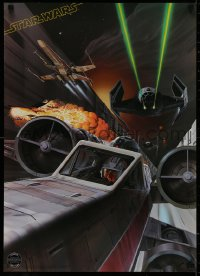 2d044 STAR WARS 20x28 commercial poster 1977 Ralph McQuarrie artwork of the Death Star trench run!