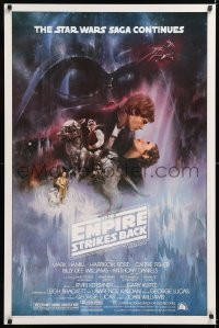 2d191 EMPIRE STRIKES BACK studio style 1sh 1980 classic Gone With The Wind style art by Kastel!