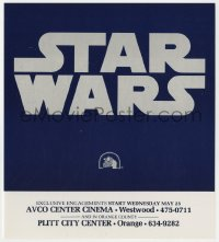 2d063 STAR WARS herald 1977 George Lucas classic, title against blue background & Fox logo!