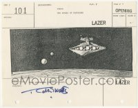 2d067 STAR WARS signed shot #101 storyboard page 1977 by Robert Watts, Star Destroyer, Rebel ship!