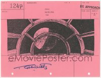 2d068 STAR WARS signed shot #124P storyboard page 1977 by Robert Watts, Millennium Falcon cockpit!