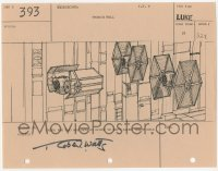 2d071 STAR WARS signed shot #393 storyboard page 1977 by Robert Watts, Darth Vader's TIE fighter!