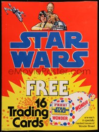 2d049 STAR WARS 12x16 special poster 1977 free trading cards in marked loaves of Wonder Bread!