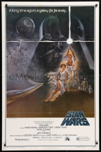2d009 STAR WARS style A first printing 1sh 1977 George Lucas classic, Tom Jung art, with PG rating!