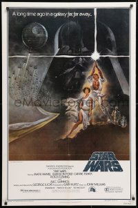 2d012 STAR WARS style A third printing 1sh 1977 George Lucas classic sci-fi epic, art by Tom Jung!