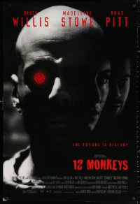 2r010 12 MONKEYS 1sh 1995 Bruce Willis, Brad Pitt, Stowe, Terry Gilliam directed sci-fi!