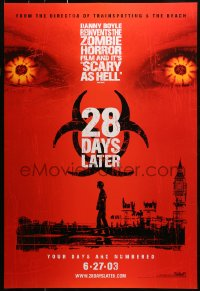2r015 28 DAYS LATER teaser DS 1sh 2003 Danny Boyle, Cillian Murphy vs. zombies in London!