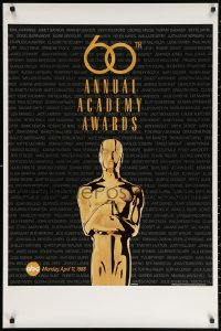 2r001 60TH ANNUAL ACADEMY AWARDS 1sh 1988 cool image of Oscar statue!