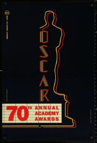 2r006 70TH ANNUAL ACADEMY AWARDS 24x36 1sh 1998 image of the Oscar Award as a neon theater sign!
