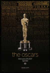 2r008 79TH ANNUAL ACADEMY AWARDS 1sh 2007 cool image of Oscar statue & famous quotes!
