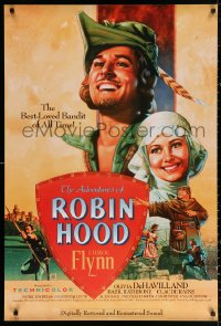 2r030 ADVENTURES OF ROBIN HOOD 1sh R1989 great Rodriguez art of Errol Flynn & Olivia De Havilland!